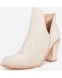 Express Kaanas Snake-embossed Leather Block Heel Booties White 9