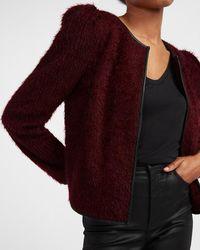 Express Faux Leather Pieced Faux Fur Jacket Purple L - Red