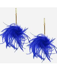 Express Tuleste Ostrich Feather Pom Pom Earrings Blue