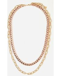 Express Tess + Tricia Gold & Rose Gold Quinn Double Necklace - Metallic