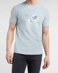 Express Light Blue Floral Moisture-wicking Graphic T-shirt