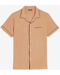 Express Slim Piped Rayon Shirt Neutral Xs - Natural