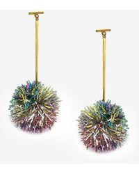 Express Tuleste Lurex Pom Pom T Bar Earrings Multi - Multicolour