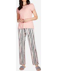 Express Memoi Striped Pyjama Set Pink Xl