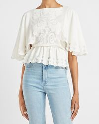 Express Lace Scalloped Peplum Top White Xxs