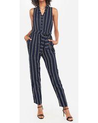 Express Striped Portofino Shirt Paperbag Jumpsuit Navy Stripe - Blue