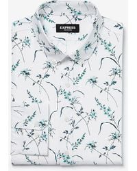 Express Slim Flower Print Wrinkle-resistant Performance Dress Shirt Green Xs