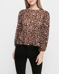 Express Leopard Foil Print Tie Back Peplum Top - Brown