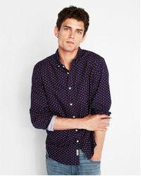 Express - Classic Soft Wash Geo Print Shirt - Lyst