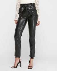 Express Super High Waisted Faux Leather Paperbag Waist Pant Black