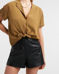 Express Boxy Tie Front Shirt Brown M