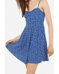 Express Dotted Cami Sundress Blue Print