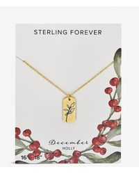 Express Sterling Forever December 'holly' Birth Flower Necklace Gold - Metallic