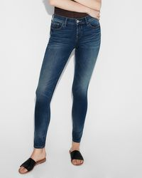 Express Mid Rise Eco-friendly Dark Wash Jeggings, - Blue