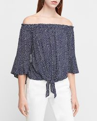Express Dotted Tie Front Off The Shoulder Top Print - Blue