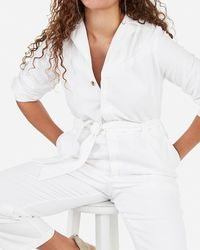 Express - X Karla Paperbag Utility Jumpsuit White - Lyst