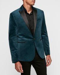 Express Slim Teal Velvet Tuxedo Grey 36 Short - Gray