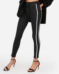 Express - Mid Rise Side Stripe Ankle Leggings Black - Lyst