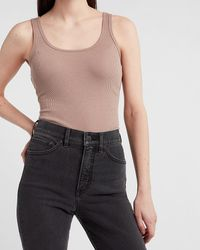 Express Fitted Ribbed Scoop Neck Tank Neutral L - Multicolour