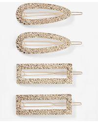 Express Set Of 4 Gold Clips Gold - Metallic