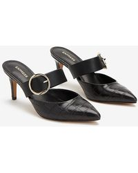 Express Crocodile Textured Buckle Pointed Toe Mules Black
