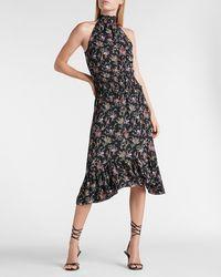 Express Floral High Neck Smocked Waist Midi Dress Black Print