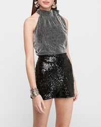 Express Super High Waisted Sequin Shorts Black