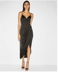 Express - Satin Wrap Fit And Flare Maxi Dress - Lyst