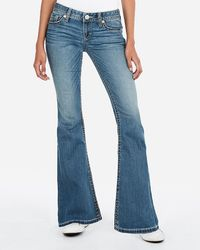 Express Low Rise Thick Stitch Bell Flare Jeans, - Blue