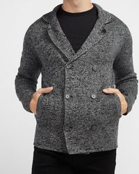 Express Solid Double Breasted Cardigan Gray Xs