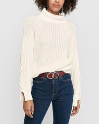 Express Cable Cut-out Sleeve Mock Neck Jumper White