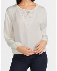 Express Lace Inset Top Ivory - White