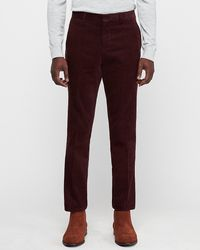 Express Slim Burgundy Corduroy Suit Trousers Red