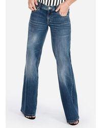 Express Low Rise Original Super Wide Leg Palazzo Jeans, Size:00 Long - Blue