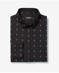 Express Extra Slim Printed Button-down Wrinkle-resistant Performance Dress Shirt Black Xs
