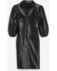 Express Faux Leather Shirt Dress Pitch Black
