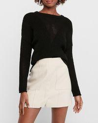 Express High Waisted Soft Knit Patch Pocket Mini Skirt Neutral Xxs - Black