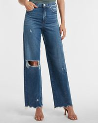 Express Super High Waisted Ripped Raw Hem 90s Wide Leg Palazzo Jeans - Blue
