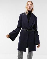 Express Bell Sleeve Shawl Collar Coat Blue