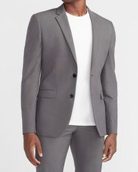 Express Extra Slim Charcoal Textured Cotton-blend Suit Jacket - Grey