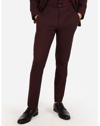 Express Slim Burgundy Oxford Stretch Wool-blend Suit Trousers - Multicolour