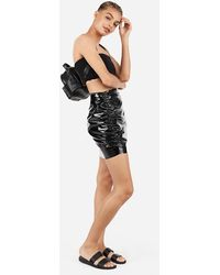 Express X Karla High Waisted Latex Mini Skirt Black