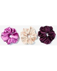 Express Set Of 3 Oversized Satin Ponytail Holders Pink