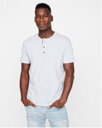 Express - Striped One Pocket Henley - Lyst