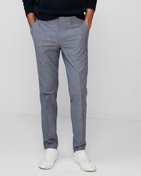 Express Men's Big & Tall Extra Slim Light Blue Chambray Stretch Dress Trousers Blue W40 L32