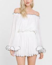 Express Endless Rose Off The Shoulder Pleated Chiffon Romper White Xs