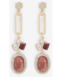 Express Ornate Rhinestone-embellished Stone Drop Earrings Red Print - Multicolour