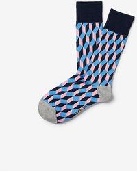 Express Geometric Print Socks - Pink