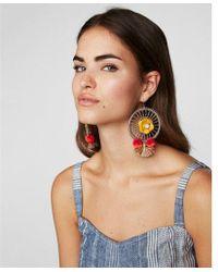Express - Woven Flower Pom Drop Earrings - Lyst