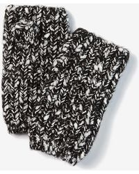 Express Marled Knit Fingerless Gloves Black